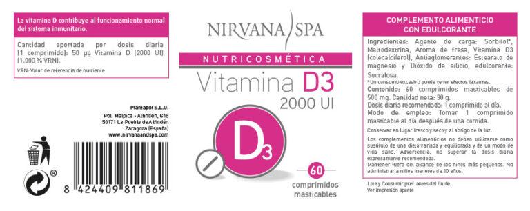Etiqueta Vitamina D3, 60 comprimidos, Nirvana Spa