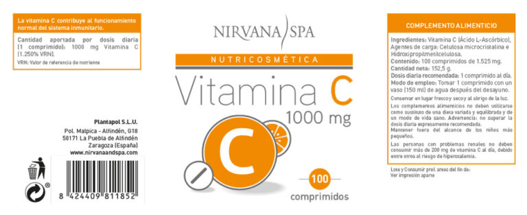 Etiqueta Vitamina C, 100 comprimidos, Nirvana Spa